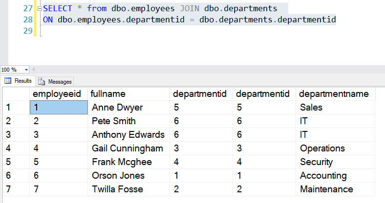 Query Results from JOIN Statement